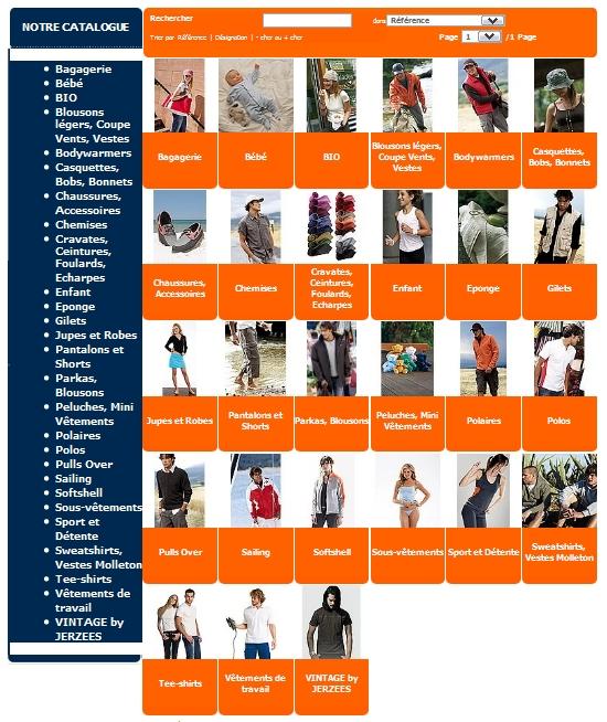 notre catalogue vêtements